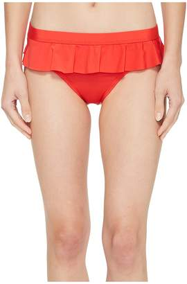 Kenneth Cole Ready To Ruffle Smocked Skirted Bikini Bottom Women's Swimwear