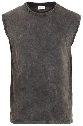 Saint Laurent Distressed Cotton Jersey Tank Top - Mens - Grey