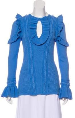 Rebecca Vallance Ruffle-Trimmed Textured Top