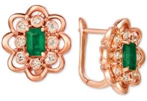 LeVian Le Vian Costa Smeralda Emerald (5/8 ct. t.w.) and Nude Diamond (1/3 ct. t.w.) Stud Earrings set in 14k Rose Gold