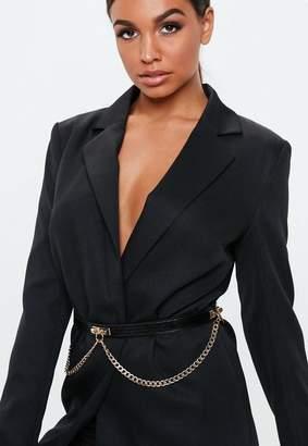 Missguided Black Gold Chain Draped Back Belt