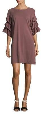 Gabby Skye Shirred-Sleeve Cotton Shift Dress