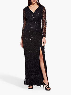 Adrianna Papell Beaded Wrap Dress, Black