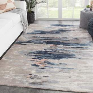 Bronx Ivy Fairlop Abstract Hand-Tufted Blue/Beige Area Rug