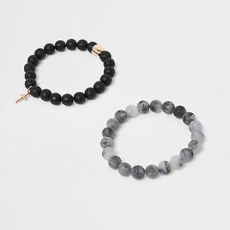 River Island Black beaded matte bracelet pack