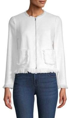 Rebecca Taylor Fringed Zip-Front Jacket