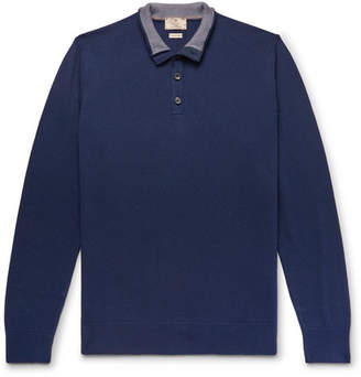 Hackett Slim-Fit Textured Cotton, Silk And Cashmere-Blend Sweater