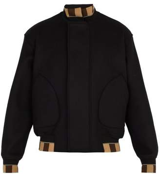 Fendi Wool Blend Bomber Jacket - Mens - Black