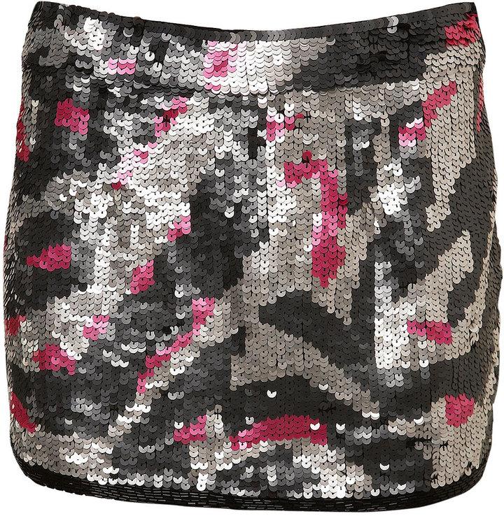 Leopard Sequin Mini Skirt
