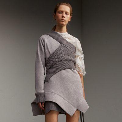 Burberry Burberry Cable Knit Panel Sweatshirt Dress