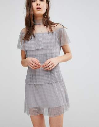 Glamorous Dotty Mesh Tiered Dress