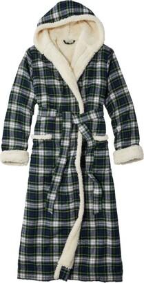 L.L. Bean L.L.Bean Women's Scotch Plaid Flannel Robe, Sherpa-Lined Long