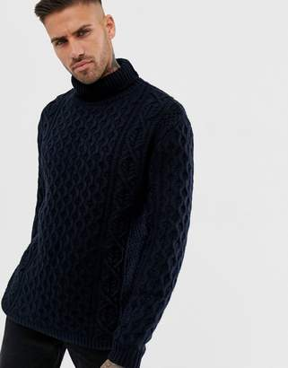 Pull&Bear cable knit roll neck sweater in navy