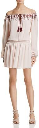 En Crème Embroidered Off-the-Shoulder Dress $78 thestylecure.com