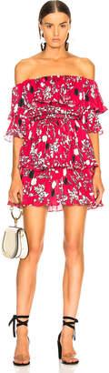 Self-Portrait Self Portrait Off Shoulder Pleated Floral Mini Dress