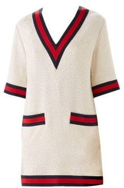 Gucci Women's Tweed V-Neck Top - Ivory - Size 40 (4)