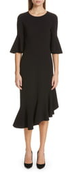 Michael Kors Asymmetrical Bell Sleeve Sheath Dress