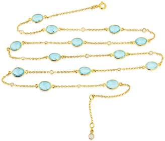Auree Jewellery - Long Cannes Blue Topaz & Gold Vermeil Necklace