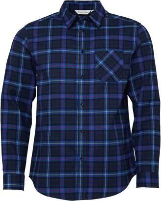 Kangaroo Poo Mens Checked Long Sleeve Flannel Shirt Navy/Blue