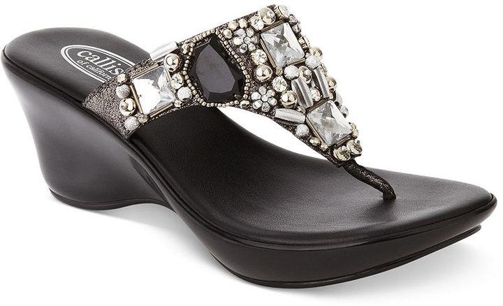 Callisto Social Platform Wedge Thong Sandals