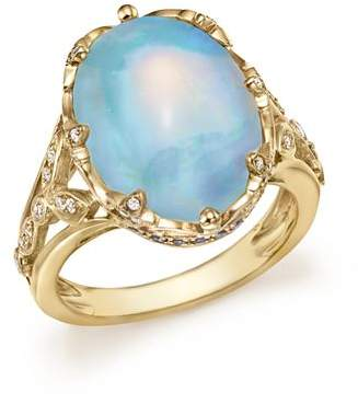 Bloomingdale's Oval Opal Statement Ring with Diamond and Sapphire in 14K Yellow Gold - 100% Exclusive