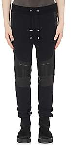 Balmain Men's Leather-Inset Cotton Jogger Pants - Black
