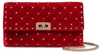 Valentino Garavani The Rockstud Quilted Velvet Shoulder Bag - Red