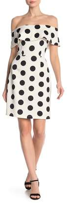 Just For Wraps Off-the-Shoulder Polkadot Dress