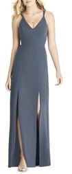 Social Bridesmaids Slit Matte Chiffon Gown
