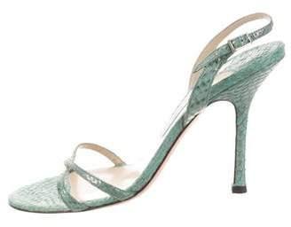 Jimmy Choo Snakeskin Round-toe Sandals