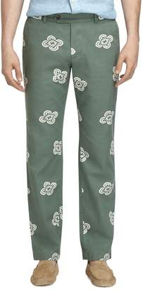 Brooks Brothers Milano Fit Linen and Cotton Vintage Print Pants