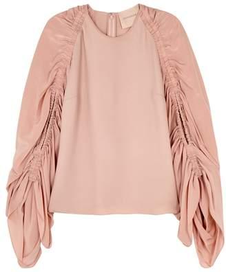 Roksanda Safiya Blush Ruched Silk Top