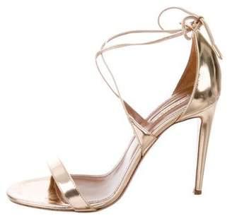 Aquazzura Metallic Ankle Strap Sandals