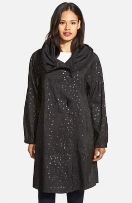 Women's Mycra Pac Designer Wear 'Donatella' Reversible Dot Pleat Hood Packable Travel Coat $248 thestylecure.com