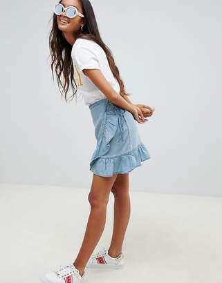 Asos Design DESIGN denim wrap skirt with frill in tencel