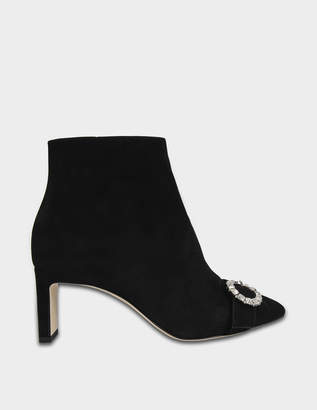 Jimmy Choo Hanover 65 Suede Boots with Crystal Buckle in Black and Crystal Suede