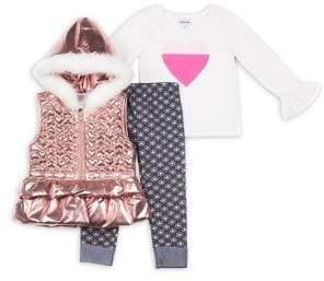 4bb1779ccf Little Lass Little Girl's 3-Piece Heart Faux Fur Puffer Vest Set