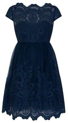 Evans Chi Chi London NavyBlue Lace Skater Dress