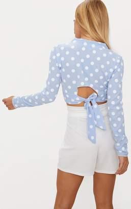 PrettyLittleThing Pale Blue Polka Dot Tie Back Crop Blouse