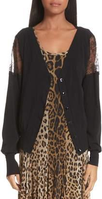 Fuzzi Lace Inset Button Cardigan