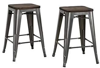 DHP Fusion Metal Backless Counter Stool with Wood Seat