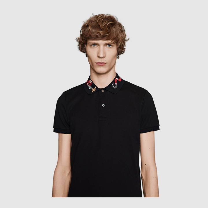 Cotton polo with Kingsnake embroidery 7