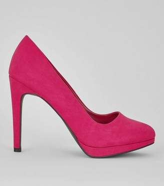 New Look Bright Pink Suedette Platform Court Shoes