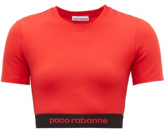 Paco Rabanne Logo Hem Jersey Cropped Top - Womens - Red