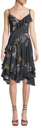 Josie Natori Sleeveless V-Neck Ruffle Floral-Print Dress