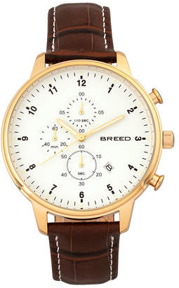Breed Quartz Holden Chronograph Gold And Brown Genuine Leather Watches 45mm