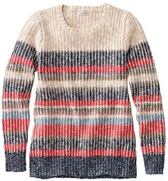 L.L. Bean L.L.Bean Women's Cotton Ragg Sweater, Marled Crewneck Pullover, Multi Stripe