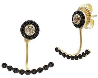 Freida Rothman Women's 14ct Gold Plated Sterling Silver Black Stone Pave Classic Stud or Beaded Bar Ear Jacket
