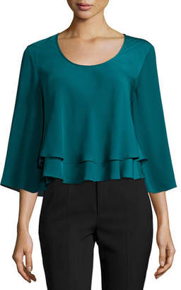 Amanda Uprichard Penelope Tiered Crepe Top