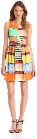 Jessica Simpson Women's Sleeveless Color Blocked Fit And Flare Dress